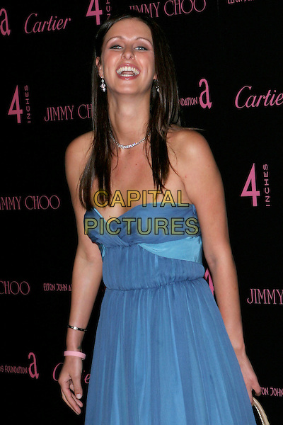 "NICKY HILTON.""4 Inches - A project for women, about women, by women"" Book Launch and photographic auction to benefit the Elton John Aids Foundation held at Morton's, West Hollywood, CA, USA, .21 June 2005..half length blue strapless chiffon dress .Ref: ADM.www.capitalpictures.com.sales@capitalpictures.com.©Jacqui Wong/AdMedia/Capital Pictures."