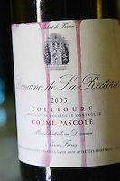 Cuvee Coume Pascole. Domaine de la Rectorie. Roussillon. France. Europe. Bottle.