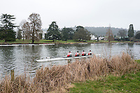 Henley. United Kingdom.  General View, as a crew passing the Henely Business College, Henley Fours &amp; Eights Henley Head,  Henley Reach, River Thames. H-O-T, England.<br /> <br /> Saturday  18/02/2017<br /> <br /> [Mandatory Credit. Peter SPURRIER/Intersport Images]