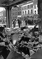 Scene from inside the office of the Automobile Association, Fanum House, Great Victoria Street, Belfast, N Ireland, following Provisional IRA bomb.19711010347a<br />