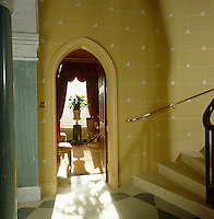 View from the foot of the staircase in the main hall into the drawing room