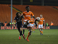 Blackpool's Armand Gnanduillet \controls the ball under pressure from Arsenal's Mohamed Elneny<br /> <br /> Photographer Stephen White/CameraSport<br /> <br /> Emirates FA Cup Third Round - Blackpool v Arsenal - Saturday 5th January 2019 - Bloomfield Road - Blackpool<br />  <br /> World Copyright © 2019 CameraSport. All rights reserved. 43 Linden Ave. Countesthorpe. Leicester. England. LE8 5PG - Tel: +44 (0) 116 277 4147 - admin@camerasport.com - www.camerasport.com