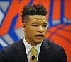 Kevin Knox, selected by the New York Knicks in the first round (ninth overall) of the 2018 NBA Draft, speaks with the media during his introductory news conference at Madison Square Garden Training Center in Greenburgh, NY on Friday, June 22, 2018.