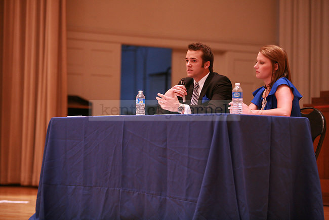 Stephen Bilas and Mary Katherine Kingston address the audience during the Student Government debate in Memorial Hall on Wednesday, March 21, 2012. Photo by  Kirsten Holliday | Staff