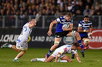 Tom Ellis of Bath Rugby takes on the Exeter Chiefs defence. Gallagher Premiership match, between Bath Rugby and Exeter Chiefs on October 5, 2018 at the Recreation Ground in Bath, England. Photo by: Patrick Khachfe / Onside Images
