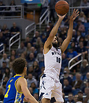 Nevada forward Caleb Martin (10) shoots against San Jose State in the first half of an NCAA college basketball game in Reno, Nev., Wednesday, Jan. 9, 2019. (AP Photo/Tom R. Smedes)