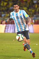 BARRANQUILLA - COLOMBIA - 17-11-2015: Angel Di Maria jugador de Argentina en acción durante partido con Colombia válido por la clasificación a la Copa Mundo FIFA 2018 Rusia jugado en el estadio Metropolitano Roberto Melendez en Barranquilla. / Angel Di Maria player of Argentina in action during match against Colombia valid for the 2018 FIFA World Cup Russia Qualifiers played at Metropolitan stadium Roberto Melendez in Barranquilla. Photo: VizzorImage / Alfonso Cervantes / Str