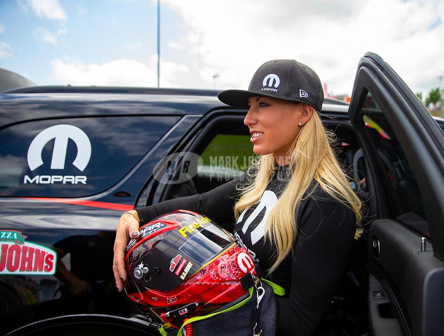 May 19, 2018; Topeka, KS, USA; NHRA top fuel driver Leah Pritchett during qualifying for the Heartland Nationals at Heartland Motorsports Park. Mandatory Credit: Mark J. Rebilas-USA TODAY Sports