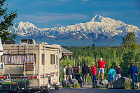 Mt. Denali, Tourists Enjoy Roadside View From The South, Talkeetna, Alaska.