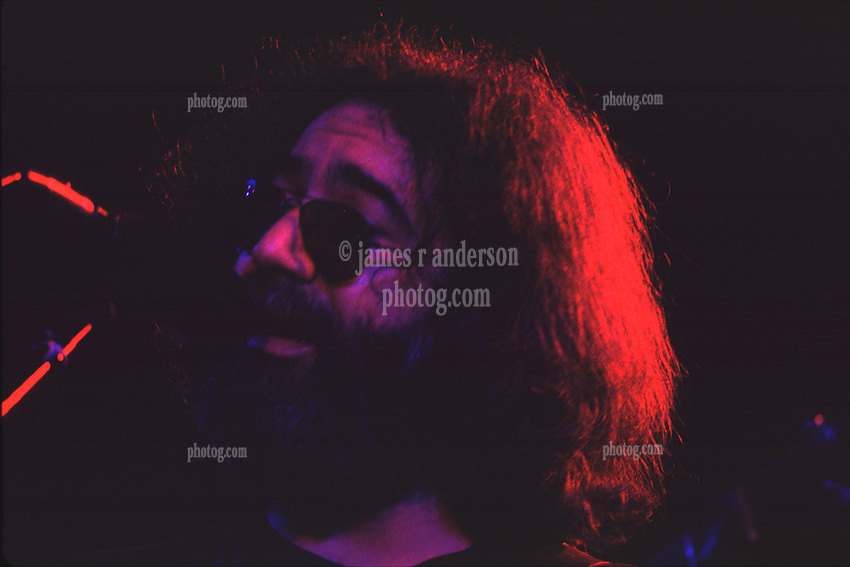 Jerry Garcia performing with The Grateful Dead in Concert at the Huntington Civic Center, Huntington West Virginia on 16 April 1978. Image No. 78C16-xx