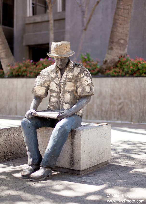 Statue of man w/ 3 mice on his shoulder, Downtown Honolulu, Oahu, Hawaii