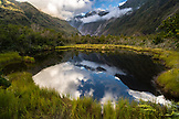 NEW ZEALAND, Franz Josef, Peters Pond reflecting the Southern Alps, Ben M Thomas