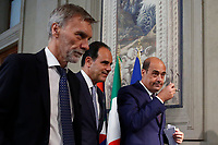 Graziano Delrio, Andrea Marcucci and Nicola Zingaretti secretary of Democratic Party who accepted to make a Government with the Movement 5 Stars<br /> Rome August 28th 2019. Quirinale. Consultation with the President of the Republic for the new Government day two.<br /> Foto  Samantha Zucchi Insidefoto