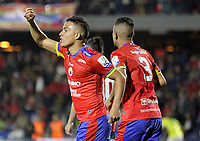 PASTO-COLOMBIA, 07-02-2020: Feiver Mercado de Deportivo Pasto, corre a celebrar el gol anotado de su equipo a Atlético Bucaramanga, durante partido de la fecha 4 entre Deportivo Pasto y Atlético Bucaramanga por la Liga BetPlay DIMAYOR I 2020 jugado en el estadio Departamental Libertad de la ciudad de Pasto. / Feiver Mercado of Deportivo Pasto runs to celebrate the scored goal from his team to Atletico Bucaramanga, during a match of the 4th date between Deportivo Pasto and Atletico Bucaramanga for the BetPlay DIMAYOR I Leguaje 2020 played at the Departamental Libertad Stadium in Pasto city. / Photo: VizzorImage / Leonardo Castro / Staff.