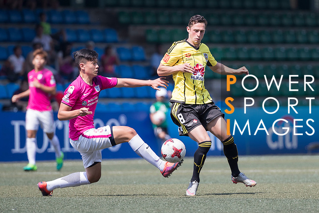 Wellington Phoenix (in yellow) vs Kitchee (in pink), during their Main Tournament Plate Quarter-Final match, part of the HKFC Citi Soccer Sevens 2017 on 28 May 2017 at the Hong Kong Football Club, Hong Kong, China. Photo by Chris Wong / Power Sport Images