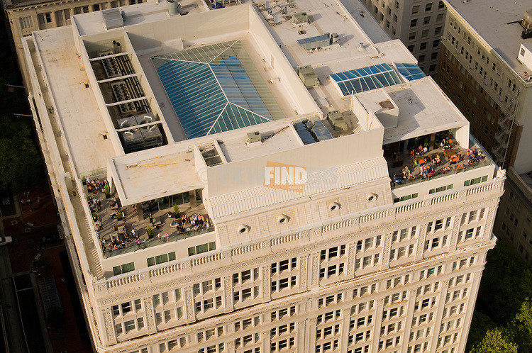 Aerial View of Departure Bar on the Roof of The Nines Hotel, Portland, Oregon