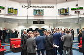 Traders after the last trading session of the day on the floor of the London Metal Exchange, on a day of high price volatility.  The LME is the last remaining floor in the City of London to trade using open outcry.