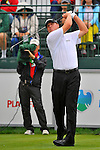 29 August 2009: Steve Stricker tees off on the first hole during the third round of The Barclays PGA Playoffs at Liberty National Golf Course in Jersey City, New Jersey.