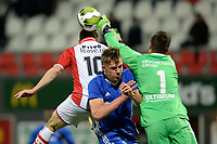 EMMEN - Voetbal, FC Emmen - Almere City, Jens Vesting, Jupiler League, seizoen 2017-2018, 17-11-2017,  redding Almere City FC doelman Chiel Kramer