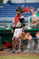 Batavia Muckdogs catcher Pablo Garcia (4) during a game against the Williamsport Crosscutters on June 22, 2018 at Dwyer Stadium in Batavia, New York.  Williamsport defeated Batavia 9-7.  (Mike Janes/Four Seam Images)