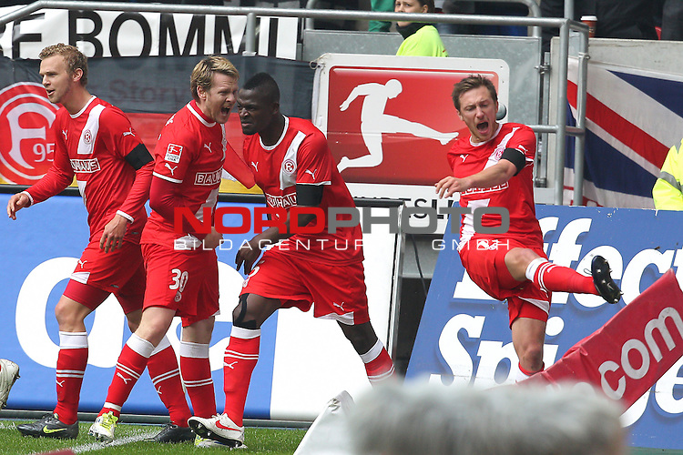 06.05.2012, Esprit Arena, Duesseldorf, GER, 2.FBL, Fortuna Duesseldorf vs MSV Duisburg, im Bild<br /> Torjubel / Jubel  nach dem 2:1 durch Assani Lukimya-Mulongoti (D&uuml;sseldorf #5) (M) mit Sascha R&ouml;sler (D&uuml;sseldorf #30) (L) und Oliver Fink (D&uuml;sseldorf #7) (R)<br /> <br /> // during the 2.FBL, Fortuna Duesseldorf vs MSV Duisburg on 2012/05/06, EspritArena, Duesseldorf, Germany. Foto &copy; nph / Mueller *** Local Caption ***