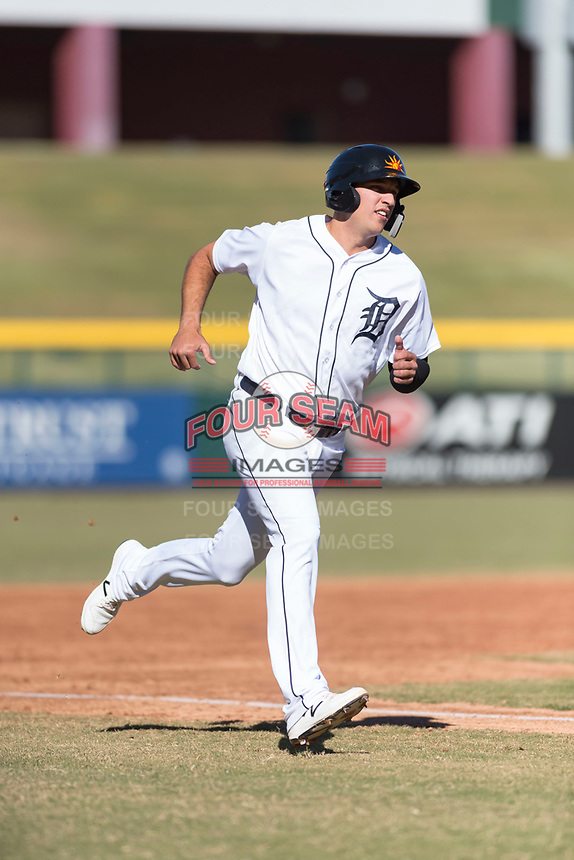 Mesa Solar Sox designated hitter Daniel Pinero (26), of the Detroit Tigers organization, hustles towards home plate during an Arizona Fall League game against the Surprise Saguaros at Sloan Park on November 15, 2018 in Mesa, Arizona. Mesa defeated Surprise 11-10. (Zachary Lucy/Four Seam Images)