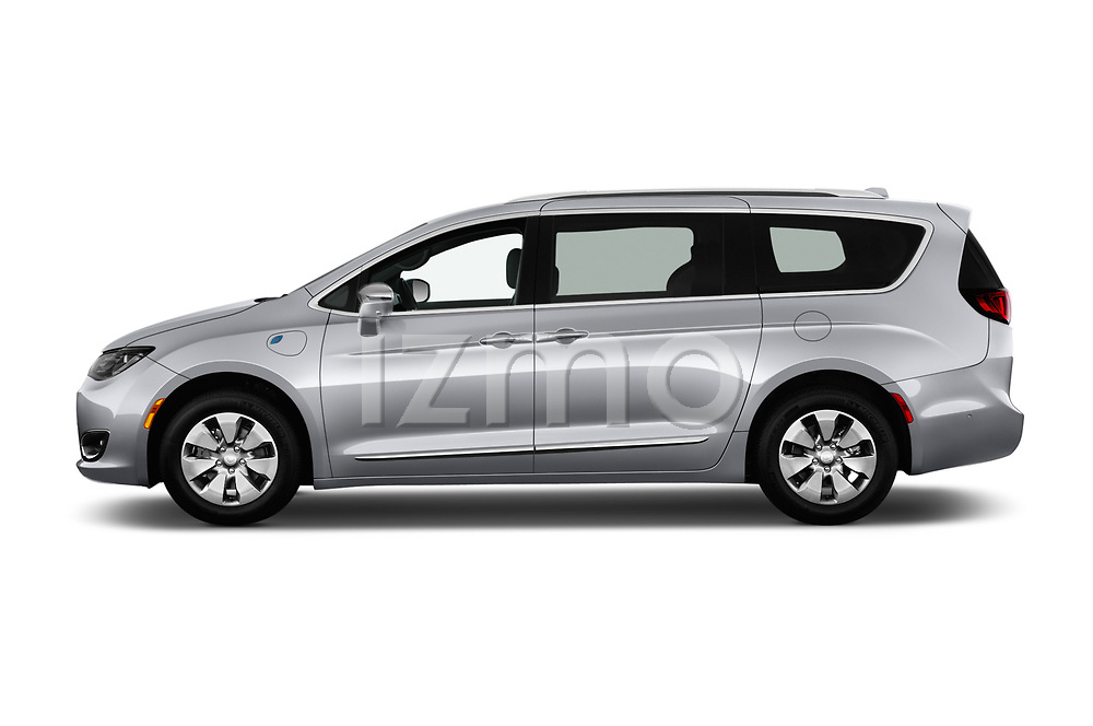 Car driver side profile view of a 2017 Chrysler Pacific Hybrid Limited 5 Door Mini Van