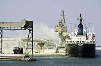 TUNISIA, port Sfax, bulk carrier vessel is loaded with phosphate which contains phosphorus used as important fertilizer in the agriculture, the phosphate is mined in mines of Compagnie des Phosphates de Gafsa CPG in the desert region of Métlaoui and transported by railway to the harbor Sfax for export
