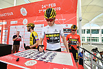 White Jersey Laurens De Plus (BEL) Team Jumbo-Visma signs on before the start of Stage 3 of the 2019 UAE Tour, running 179km form Al Ain to Jebel Hafeet, Abu Dhabi, United Arab Emirates. 26th February 2019.<br /> Picture: LaPresse/Massimo Paolone | Cyclefile<br /> <br /> <br /> All photos usage must carry mandatory copyright credit (© Cyclefile | LaPresse/Massimo Paolone)