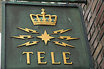 Close up of sign for Telegrafen department store shop in city centre, Bergen, Norway