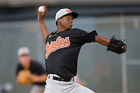 Relief pitcher Sam Taveras #32 of the Bluefield Orioles in action versus the Johnson City Cardinals at Howard Johnson Field August 1, 2009 in Johnson City, Tennessee. (Photo by Brian Westerholt / Four Seam Images)