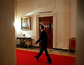 United States President Barack Obama arrives through the Cross Hall to announce Al-qaida terror leader Osama bin Laden is dead in the East Room of the White House in Washington, DC, on Sunday, May 1, 2011.   .Credit: Brendan Smialowski / Pool via CNP