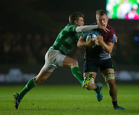Harlequins' Alex Dombrandt is tackled by Newcastle Falcons' Toby Flood <br /> <br /> Photographer Bob Bradford/CameraSport<br /> <br /> Gallagher Premiership Round 7 - Harlequins v Newcastle Falcons - Friday 16th November 2018 - Twickenham Stoop - London<br /> <br /> World Copyright © 2018 CameraSport. All rights reserved. 43 Linden Ave. Countesthorpe. Leicester. England. LE8 5PG - Tel: +44 (0) 116 277 4147 - admin@camerasport.com - www.camerasport.com