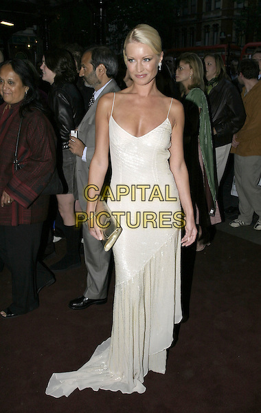 DENISE VAN OUTEN.The Woman in White World Premiere, Palace Theatre, Shaftesbury Avenue, London, September 15th 2004..full length white dress sparkly sequined silver low cut gold clutch bag.Ref: AH.www.capitalpictures.com.sales@capitalpictures.com.©Capital Pictures.