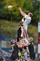 Jamie Gibson rises high to win lineout ball. Aviva Premiership match, between London Wasps and Leicester Tigers on October 27, 2013 at Adams Park in High Wycombe, England. Photo by: Patrick Khachfe / JMP