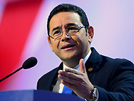 Washington, DC - March 4, 2018: Guatemalan President Jimmy Morales addresses attendees of the 2018 American Israel Public Affairs Committee (AIPAC) Public Policy Conference at the Washington Convention Center March 4, 2018.  (Photo by Don Baxter/Media Images International)