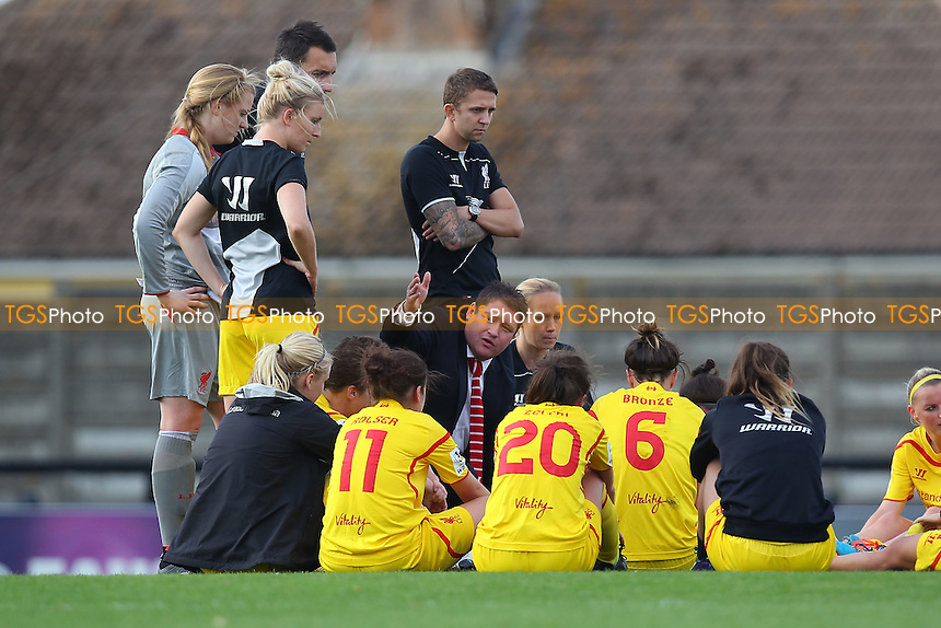 Liverpool Ladies head coach Matt Beard (C) speaks to his players after the game - Arsenal Ladies vs Liverpool Ladies - FA Womens Super League Football at Meadow Park, Boreham Wood FC  - 05/10/14 - MANDATORY CREDIT: Gavin Ellis/TGSPHOTO - Self billing applies where appropriate - contact@tgsphoto.co.uk - NO UNPAID USE