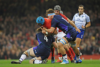 Wales' Justin Tipuric is tackled by Scotland's Ben Toolis and Jamie Ritchie<br /> <br /> Photographer Ian Cook/CameraSport<br /> <br /> Under Armour Series Autumn Internationals - Wales v Scotland - Saturday 3rd November 2018 - Principality Stadium - Cardiff<br /> <br /> World Copyright &copy; 2018 CameraSport. All rights reserved. 43 Linden Ave. Countesthorpe. Leicester. England. LE8 5PG - Tel: +44 (0) 116 277 4147 - admin@camerasport.com - www.camerasport.com