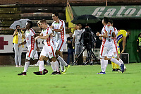NEIVA-COLOMBIA, 29-03-2019: Los jugadores de Patriotas Boyacá celebran el gol anotado a Atlético Huila, durante partido entre Atlético Huila y Patriotas Boyacá, de la fecha 12 por la Liga Aguila, I 2019 en el estadio Guillermo Plazas Alcid de Neiva. / The players of Patriotas Boyaca celebrate a goal scored to Atletico Huila, during a match between Atletico Huila and Patriotas Boyaca of the 12th date for the Liga Aguila I 2019 at the Guillermo Plazas Alcid Stadium in Neiva city. Photo: VizzorImage  / Sergio Reyes / Cont.