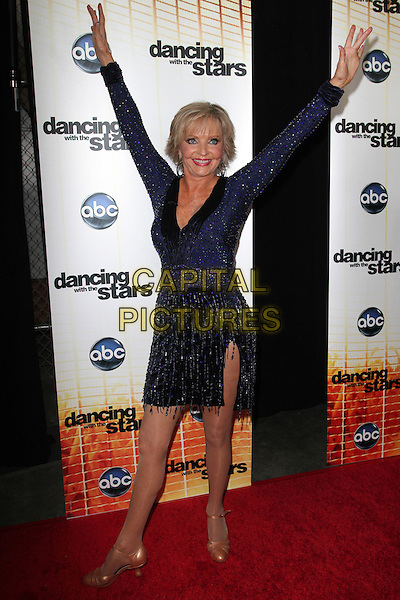 "FLORENCE HENDERSON.""Dancing With The Stars"" Season Premiere held at CBS Studios, Los Angeles, CA, USA..September 20th, 2010.full length black blue dress beads beaded arms in air posing .CAP/ADM/KB.©Kevan Brooks/AdMedia/Capital Pictures."