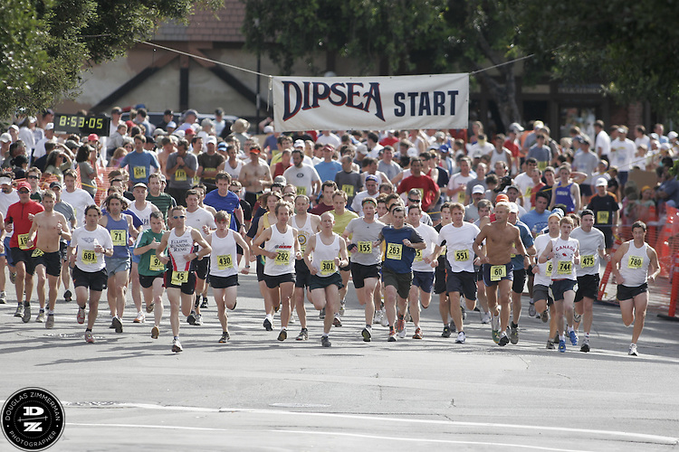 Runners take off from the start line of the 97th running of the Dipsea Race in Mill Valley, Calif.  on Sunday, June 10, 2007. .