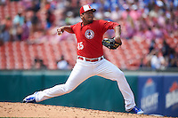 Buffalo Bisons pitcher Gregory Infante (45) delivers a pitch during a game against the Scranton/Wilkes-Barre RailRiders on June 10, 2015 at Coca-Cola Field in Buffalo, New York.  Scranton/Wilkes-Barre defeated Buffalo 7-2.  (Mike Janes/Four Seam Images)