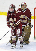 Allie Thunstrom (BC - 9), Corinne Boyles (BC - 29) - The Harvard University Crimson defeated the Boston College Eagles 5-0 in their Beanpot semi-final game on Tuesday, February 2, 2010 at the Bright Hockey Center in Cambridge, Massachusetts.