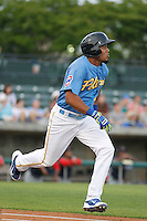 Myrtle Beach Pelicans infielder Jeimer Candelario (9) at bat during a game against the Salem Red Sox at Ticketreturn.com Field at Pelicans Ballpark on May 5, 2015 in Myrtle Beach, South Carolina.  Myrtle Beach defeated Winston-Salem  6-0. (Robert Gurganus/Four Seam Images)