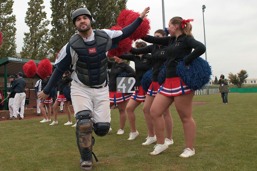 17 October 2010: Vincent Ferreira of Savigny is seen during the players introduction prior to Rouen 10-5 win over Savigny, during game 2 of the French championship finals, in Savigny sur Orge, France.