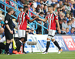 Sheffield United's James Wilson gets substituted for Ethan Ebanks-Landell during the League One match at the Priestfield Stadium, Gillingham. Picture date: September 4th, 2016. Pic David Klein/Sportimage
