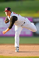 Kannapolis Intimidators starting pitcher Blair Walters #33 in action against the Delmarva Shorebirds at CMC-Northeast Stadium on April 11, 2012 in Kannapolis, North Carolina.  The Intimidators defeated the Shorebirds 2-1.  (Brian Westerholt/Four Seam Images)