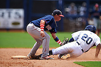 GCL Red Sox second baseman Rafael Oliveras (2) puts the tag on Garrett Whitley (20) sliding in during the second game of a doubleheader against the GCL Rays on August 4, 2015 at Charlotte Sports Park in Port Charlotte, Florida.  GCL Red Sox defeated the GCL Rays 2-1.  (Mike Janes/Four Seam Images)