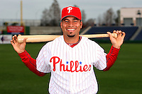 February 24, 2010:  Infielder Juan Castro (7) of the Philadelphia Phillies poses during photo day at Bright House Field in Clearwater, FL.  Photo By Mike Janes/Four Seam Images