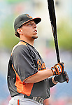 18 May 2012: Baltimore Orioles catcher Luis Exposito awaits his turn in the batting cage prior to a game against the Washington Nationals at Nationals Park in Washington, DC. The Orioles defeated the Nationals 2-1 in the first game of their 3-game series. Mandatory Credit: Ed Wolfstein Photo